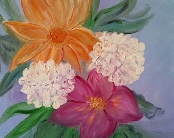 Blooms an Original Oil in full color on 24x18x1 canvas