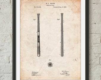 Antique Baseball Bat 1885 Patent Poster, Vintage Baseball Decor, Boys Room Wall Art, Boys Room Wall Art. PP0539