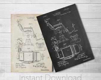 Barbers Chair Printables, Barber Shop Decor, Barber Gift, PatentPrints, Poster Print, PP0244