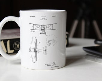 Staggered Biplane Aircraft Patent Mug, Airplane Mug, Airplane Decor, Aviation Nursery, Airplane Patent PP0068