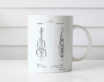 Violin Patent Mug, Stringed Instruments, Violin Mug, Violinist, Orchestra, Symphony, Musician Gift, PP0853