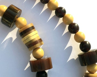 Art Deco Bakelite Bead Necklace Chunky Root Beer Butterscotch Creamed Corn