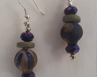 Hand painted Australian gum nuts vintage blue bead earrings wood beads on silvertone shepherd hooks