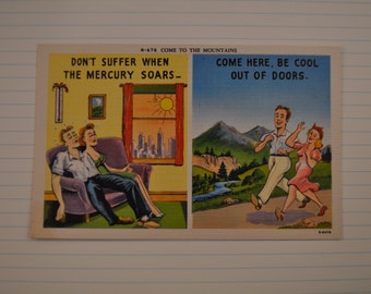 Vintage Linen Comic Postcard from Asheville Postcard Co. N-676 Come to the Mountains. 1940's