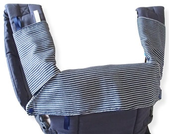 Beco Gemini Bib,Drool Pads,Topper,Teething Pads,Hicory Stripes,Navy/White,SSC Baby Carrier Accessory.Waterproof,Teething Bib,Drool pads