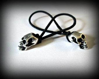 Silver Skull Ponytail Holder,gothic skull,skull hair band set of 2/Gothic/fantasy/punk