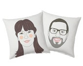 Couple Cushion set. Printed pillow. Couple portraits. Christmas gift. Funny Wedding, Engagement or Housewarming gift.