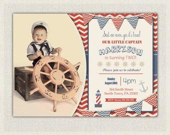 Nautical 1st Birthday Invitation / Printable Download / First Birthday Photo Invitation Invites Red and Blue Sail Boat i-102
