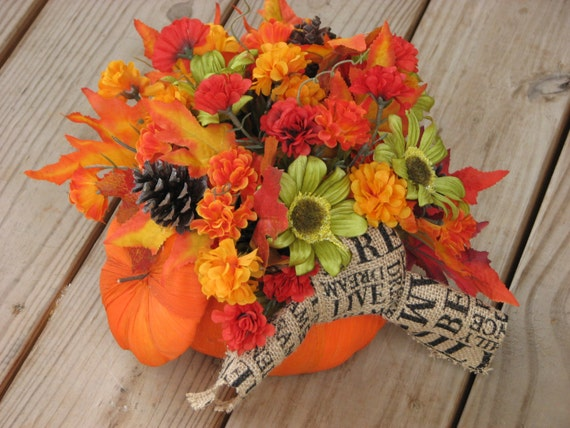 Items similar to sale off pumpkin centerpiece rustic