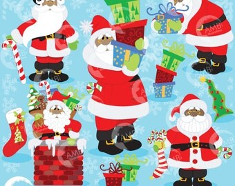 Christmas clipart, African American Santa Clipart, Dark Skin Santa Claus clipart, Father Christmas Clipart, Commercial Use  AMB-559