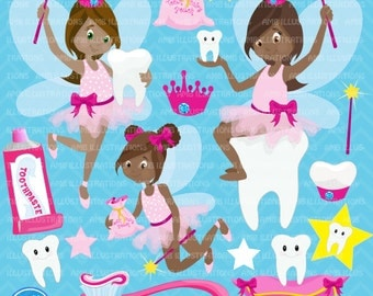 Tooth fairy clipart, Tooth fairy clip art, African American Toothfairy clipart, Dark skin fairy, tooth clipart, AMB-1134