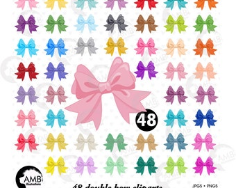 Large Vector Bows Clipart, Double Bow Clip Art, Gift Bow Clip Art, Ribbon Bow Clip Art, Birthday Bow Clipart, AMB-1294