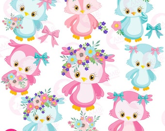 Owl clipart, Cute owl, Girl owl clipart, Owl clip art, Pink owl clipart, girlie owl icons, floral clipart, AMB-1392