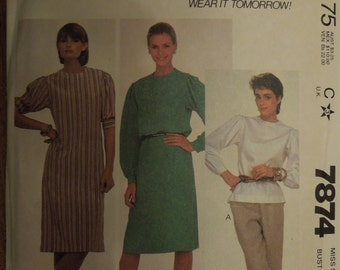McCalls 7874, size 8, pullover top or dress, UNCUT sewing pattern, craft supplies, misses, womens