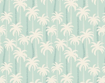 Lewis & Irene Patchwork Quilting Fabric Palm Trees A132.1 Blue