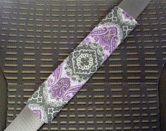 Seat Belt Cover Purple Gray White Flower Medallion Mandala Pattern, Shoulder Pad, Refrigerator Handle, Tote Bag Handle, reverse is purple