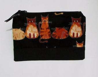 HALF PRICE SALE! Cheeky Cats on black fabric zipper pouch/ purse/ bag