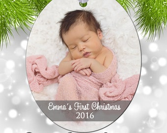 Christmas Tree Ornament - Personalized Baby's First Christmas Photo Ornament - Double Sided - Aluminum 6067