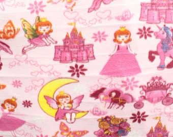 Fleece Fabric Printed Anti Pill Princesses Fairy Tale Pink Sold By The Yard N 2064