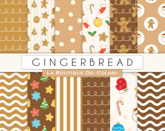 Gingerbread Man digital paper, background, seamless pattern, Scrapbook, cookies, biscuits, Christmas baking, for Commercial Use