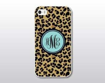 Leopard Print iPhone Case w/ Aqua - Leopard iPhone Case - Hollywood Glam iPhone Case - Animal Print iPhone Case - Monogrammed Gift for Her