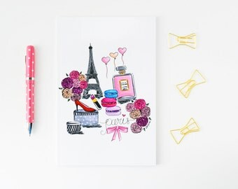 Paris notebook,Paris illustration,Lined notebook, Travel journal,Fashion journal,Eiffel Tower notebook,Pretty journal diary,Travel gifts