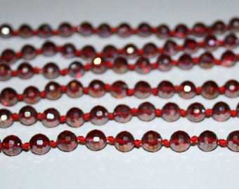 8 mm Faceted Crystal beads. Red glass beads 8 mm.