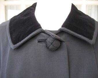 Vintage Alexon Black Evening Coat 1950s Size 16 - 18