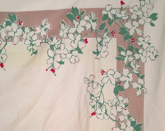 "Vintage Dogwood Print Tablecloth 49""x 64"" Jadite Green White Taupe Red 50s Fifties"
