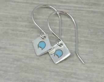Fine Silver Square Earrings, Silver and Turquoise Enamel Earrings, Fine Silver and Handmade Dangle Earrings