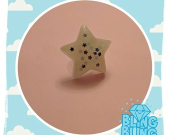 White Translucent Star Ring Fairy Kei Magical Girl Jewelry
