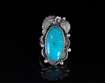 Sleeping Beauty Turquoise Ring Sterling Silver Handmade Size 8.0, R0482