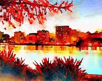 Lake Merritt in Fall Watercolor Print