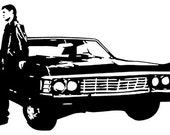 Custom Supernatural Dean Winchester Baby Vinyl Decal // 8x5 Inches // Red