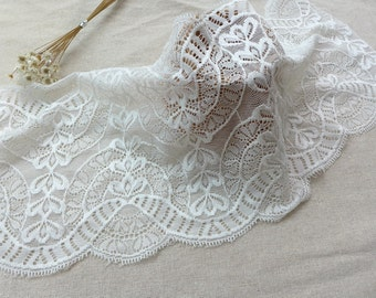 """6.9"""" wide Off White Elastic Stretch Lace Trim for Headbands, Lingerie, Table Runner, Home Decor"""