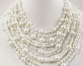Wedding jewelry, Cream pearl and crystal statement necklace, multistrand, chunky, crystal, bridal, beaded, white, bib, unique necklace