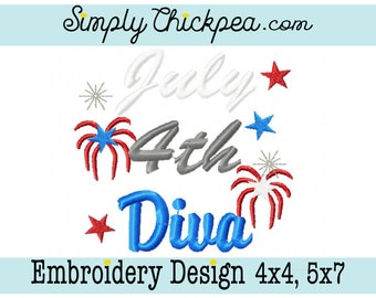 Embroidery Design - July 4th Diva - Fireworks - Patriotic Design - Just for Girls - 4th of July - For 4x4 and 5x7 Hoops