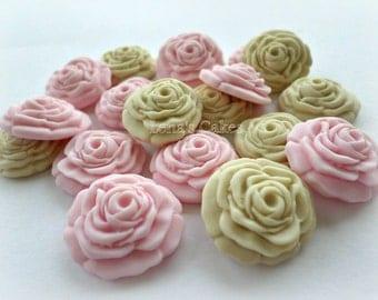 Wedding Favor Candies, Cupcake Toppers Edible Cake Fondant, Edible Decorations, Sugar Flower Roses Gumpaste, Ivory Pink Baptism Christening