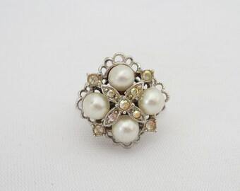 Vintage Sarah Cov Rhinestone Faux Pearl Adjustable Ring Size 8