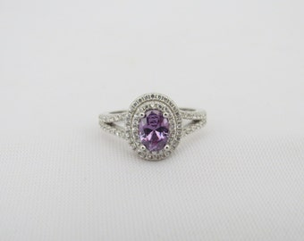 Vintage Sterling Silver Amethyst & White Topaz Halo Ring Size 7