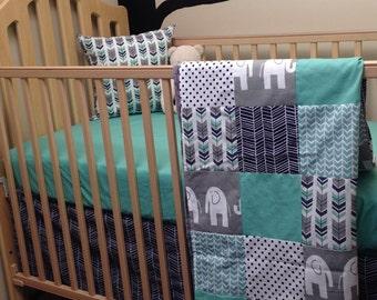 Custom crib bedding etsy baby boy crib bedding sheet patchwork blanket skirt crib bedding with elephants in sciox Image collections