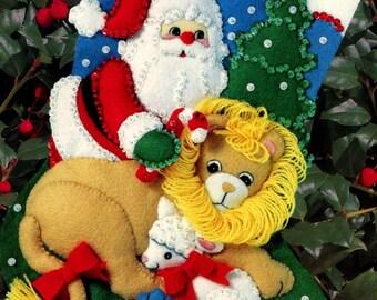 "DIY Bucilla Peace on Earth ~ 15"" Felt Christmas Stocking Kit #33392 Santa Lion Lamb"