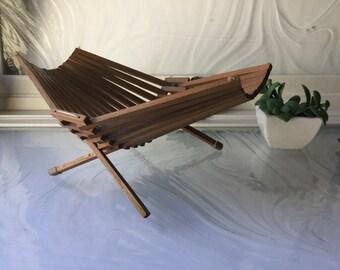 Mid Century Folding Wood Basket