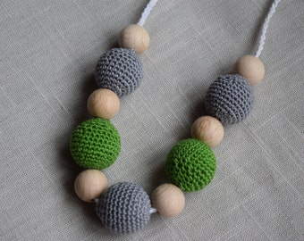 Crochet Nursing Necklace - Breastfeeding Necklace / Teething necklace with crochet beads green grey beads