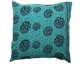 Kantha Cushion Cover - Black and Turquoise - Large - 50cm x 50cm (19.7 inches x 19.7 inches)