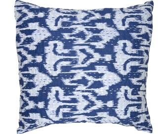 Cushion Cover - Blue Ikat Design