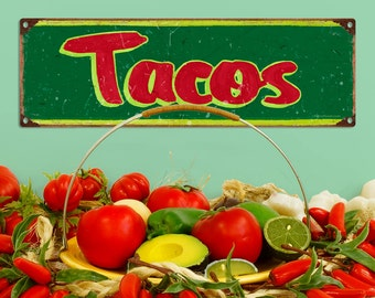 Tacos Distressed Mexican Restaurant Metal Sign - #60645