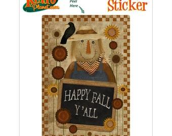 Scarecrow Happy Fall Yall Vinyl Sticker - #70958