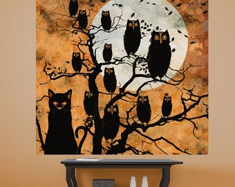 Owls and Cat Full Moon All Hallows Eve Wall Decal - #68342