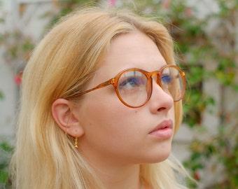 Superb Vintage Glasses by Carrera - Translucent Amber / Subtle Orange  - Classic shape - Made in Austria - 55-19